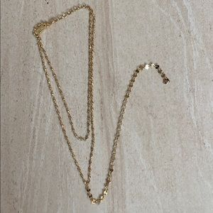 The 2 bandits gold double ball chain drop necklace